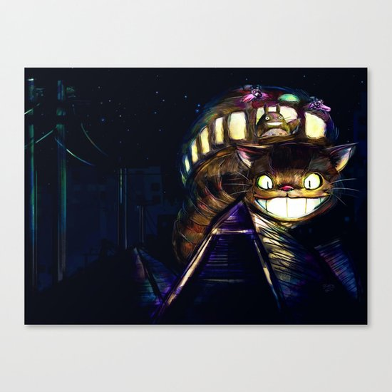 Cat Bus is In Your Town! Miyazaki Tribute Digital Fan Painting Canvas Print