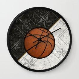 Basketball Stars and Court Team Sports Design Wall Clock