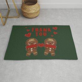 Gingerbread Love Thank You - Green BG Rug