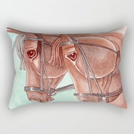 Horses On Fuchsite Moon Rectangular Pillow