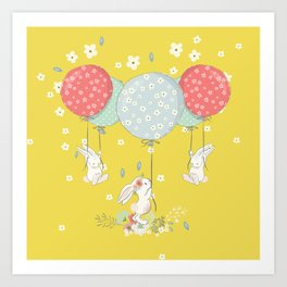 flying bunny Art Print