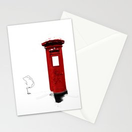 Red, Royal Mail, BRITISH Post Box. (and snow..) Stationery Cards