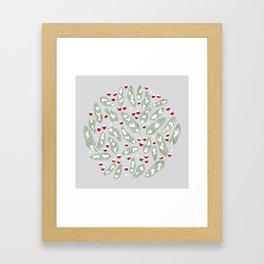 Winter Berries in Gray Framed Art Print