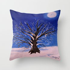 Winter tree in the moonlight Throw Pillow