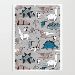 Origami dino friends // grey linen texture blue dinosaurs Poster