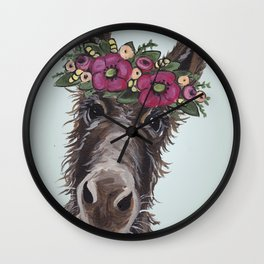 Donkey Painting, Flower Crown Donkey Wall Clock