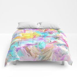 Pastel Abstract Leaves Design Comforters