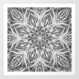 Gray Center Swirl Mandala Art Print