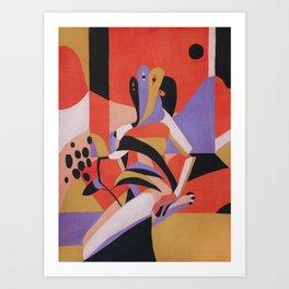 Woman, flowers and window Art Print