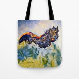 Wild Horse in Sea of Grass watercolor by CheyAnne Sexton Tote Bag