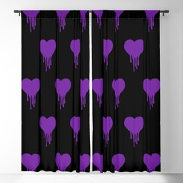 Dripping Heart Purple Blackout Curtain