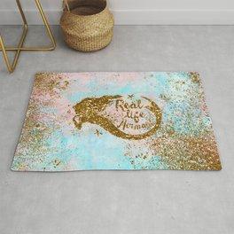 Faux Gold Glitter- REAL LIFE MERMAID On Sea Foam Rug