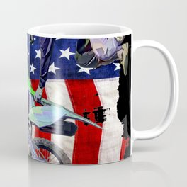 High Flying Freestyle Motocross Rider & US Flag Coffee Mug