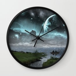 Chillin' on the Space Lake Wall Clock