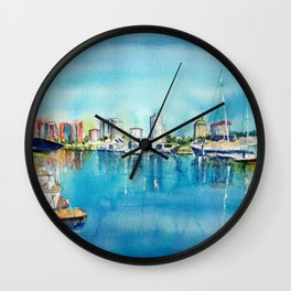 A Coastal View of Long Beach Wall Clock