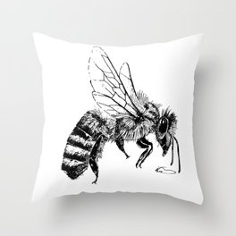 Black and White Bee Throw Pillow