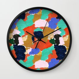 Kara - paint palette abstract minimal modern art bright colorful boho urban painting college dorm Wall Clock