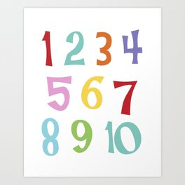 colourful numbers Art Print