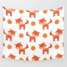 Orange Fox Wall Tapestry