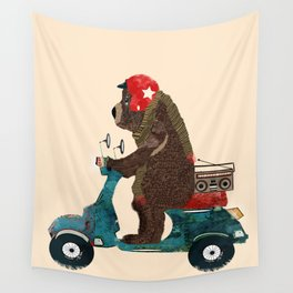 scooter bear Wall Tapestry