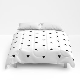 Black and white Triangles geometric pattern Comforters