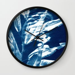 Fragments of the Past (25), art print, collage, blue print, cyanotype print, wall art, wall decor Wall Clock