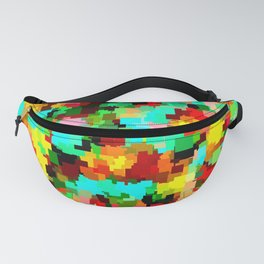 colorful square shape pattern abstract background in red blue yellow Fanny Pack