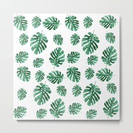 Monstera Leaf (camo) Metal Print