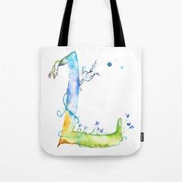 Letter L watercolor - Watercolor Monogram - Watercolor typography - Floral lettering Tote Bag