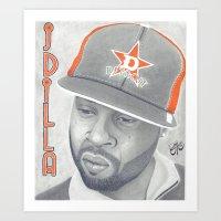 j dilla Art Prints featuring J Dilla R.I.P. by TYP Portraits