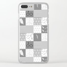 Magic Private School cheater quilt patchwork wizarding witches and wizards Clear iPhone Case