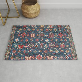 Cobalt Blue Khyrdagyd // 19th Century Authentic Colorful Yellow Red Aztec Butterfly Accent Pattern Rug