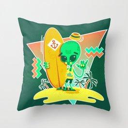 Alien Surfer Nineties Pattern Throw Pillow