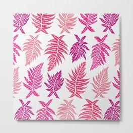 Inked Ferns – Blush Palette Metal Print