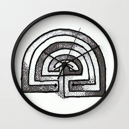 Labyrinthine life monochrome Wall Clock