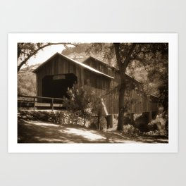 History Lost the Honey Run Covered Bridge Art Print
