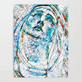 Glass stain mosaic 8 - Madonna, by Brian Vegas Poster