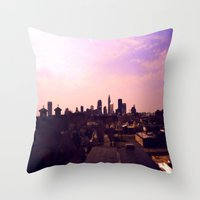 cleveland Throw Pillows featuring Cleveland Skyline by Toni Tylicki