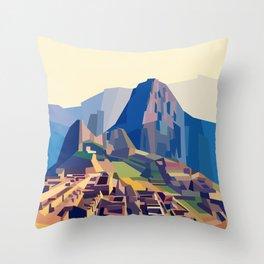 Geometric Machu Picchu, Peru Throw Pillow