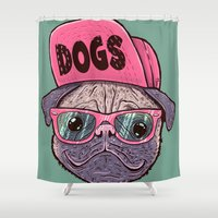 dogs Shower Curtains featuring Dogs by Lime