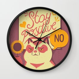 Stay Positive Cat Wall Clock