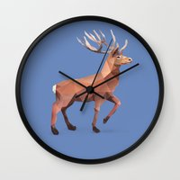 reindeer Wall Clocks featuring Reindeer.  by Diana D'Achille