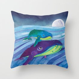 Shanti Sparrow: Shelby and Sheldon the Whales Throw Pillow
