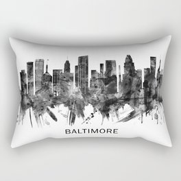 Baltimore Maryland Skyline BW Rectangular Pillow