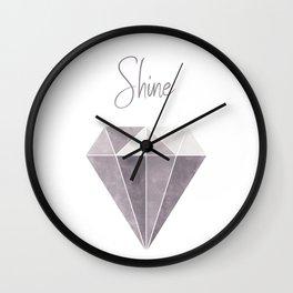 Shine Bright Like a Diamond - Purple & Beige Wall Clock