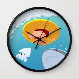 Swim upon the shark Wall Clock