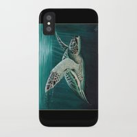 """biology iPhone & iPod Cases featuring """"Moonlit"""" - Green Sea Turtle, Acrylic by Amber Marine"""