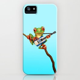 Tree Frog Playing Acoustic Guitar with Flag of Israel iPhone Case