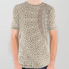 Unique Texture Taupe Burlap Mandala Design All Over Graphic Tee