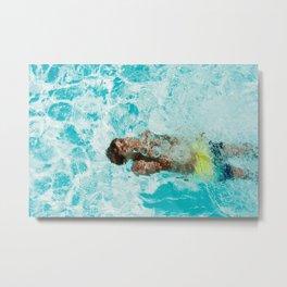 Underwater swimming Metal Print